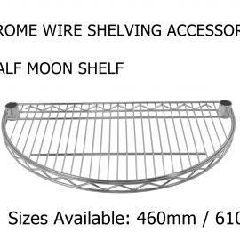 Chrome wire half moon shelf