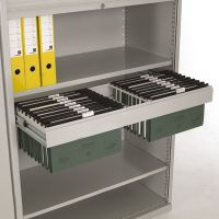 Pull out filing shelf