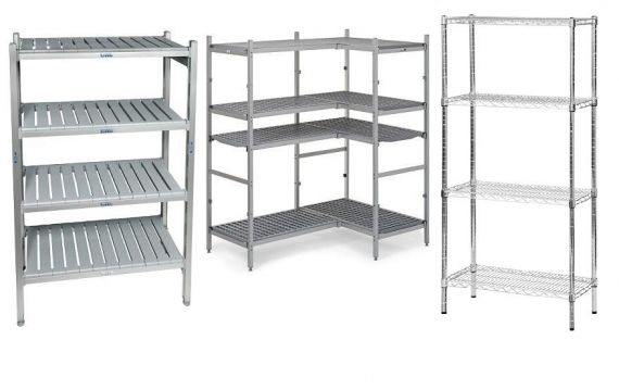 Hygienic kitchen shelving systems